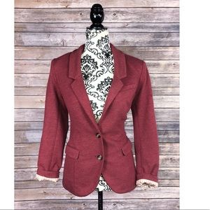 H&M blazer jacket elbow patches size 10 red career